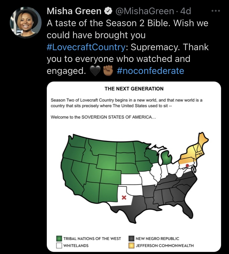 Screen shot of tweet from Misha Green announcing there will be no second season for Lovecraft Country